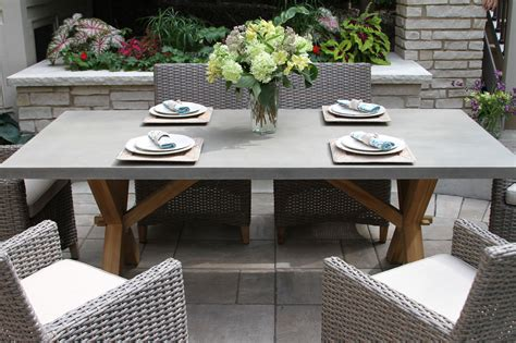 Composite Rectangle Dining Table With Trestle Teak Base Composite Patio Table