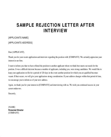Rejection Letter Other Candidates Sle Applicant Rejection Letter 6 Documents In Pdf Word