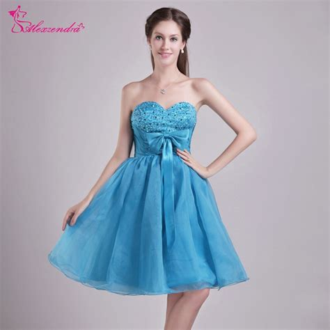 alexzendra blue short knee length tulle prom dresses