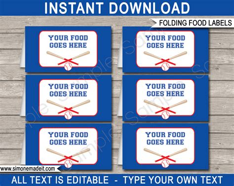 baseball party food labels place cards party decorations