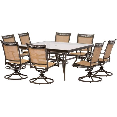 Hanover Fontana 9 Piece Aluminum Square Outdoor Dining Set
