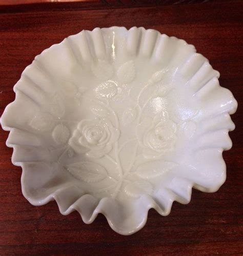 flower pattern milk glass vintage imperial opaque white milk glass doeskin embossed