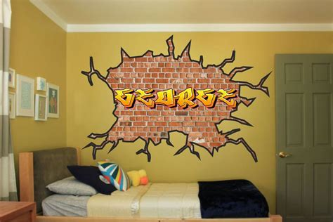 graffiti boys bedroom large personalised name graffiti wall art sticker boys
