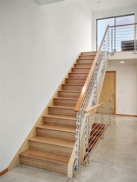 Wooden Staircase Design Home Design Wooden Stairs Minimalist Rails White Wall Floor Modern Style Stainless