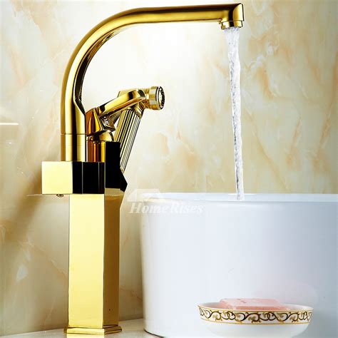 gold kitchen faucet polished brass vessel pull  spray