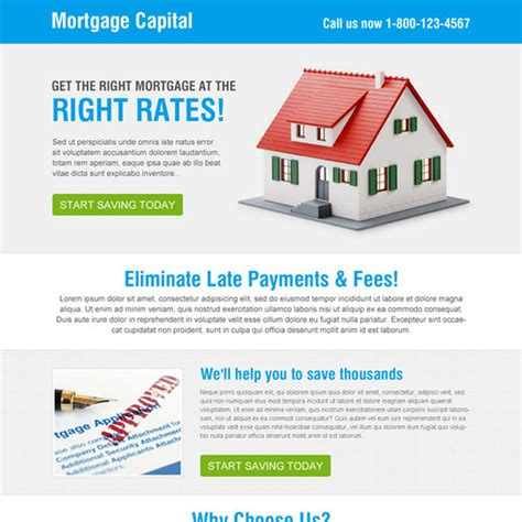 mortgage landing page templates simple and clean mortgage capital call to