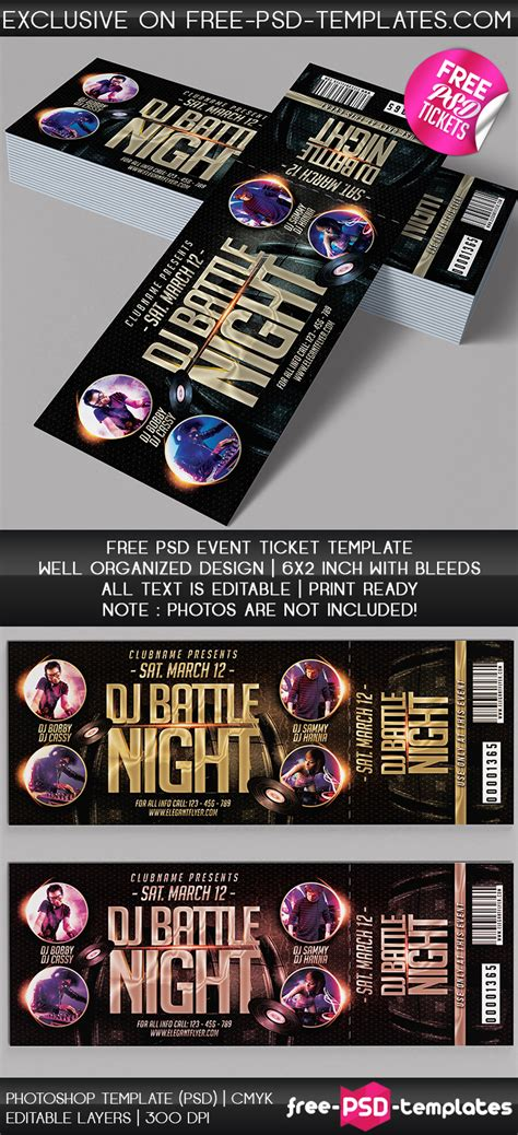 Free Psd Event Tickets Free Psd Templates Event Ticket Template Photoshop