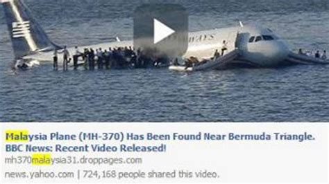 missing malaysia airlines flight 370 scam arrives via scam alert missing malaysia jet found in bermuda triangle