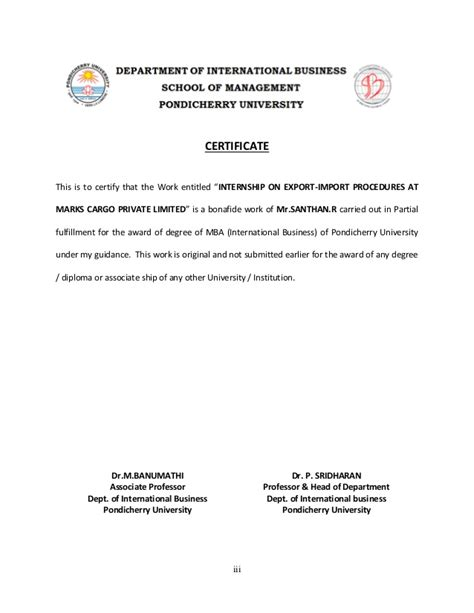 Export Management Notes For Mba by Internship On Export Import Procedures At Marks Cargo