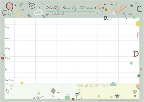 Galerry printable week planner 2018