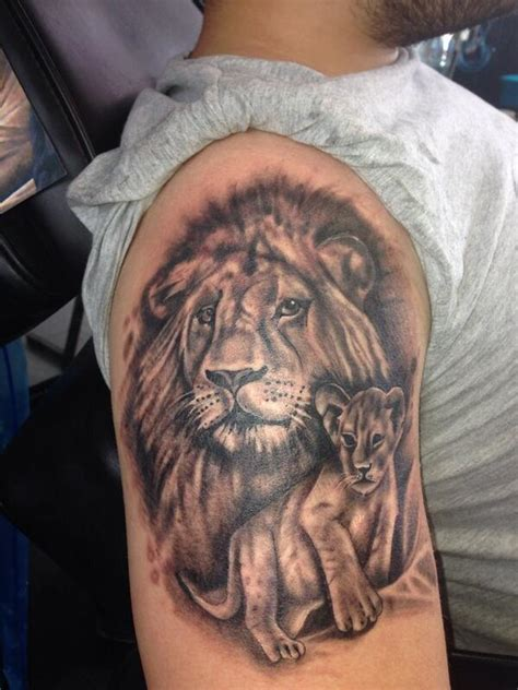 lion with cub tattoo designs enjoyed doing this and cub representing
