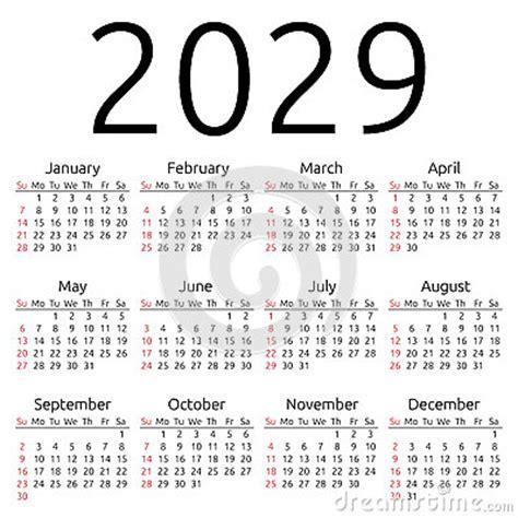 vector calendar 2029, sunday stock vector image: 62409282