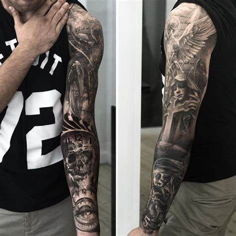 good arm tattoos for men the idea of vs evil on the sleeve sleeve