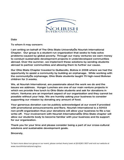 Donation Letter For Orphanage Nourish International Donation Letter