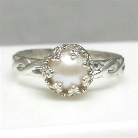 pearl ring sterling silver pearl ring celtic band non