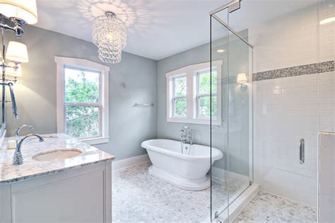 Flooring Ideas For Small Bathroom by Spa Like Master Bath With Glass Chandelier And Pedestal