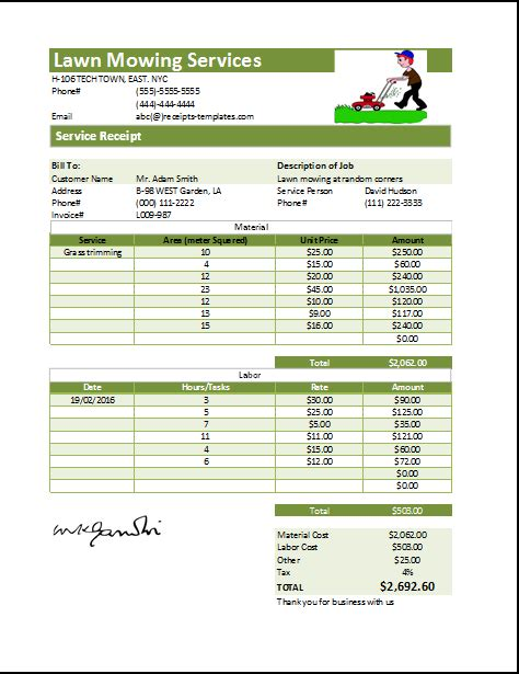 Lawn Mowing Receipt Template At Receipts Templates Com Microsoft Templates Pinterest Lawn Service Estimate Template