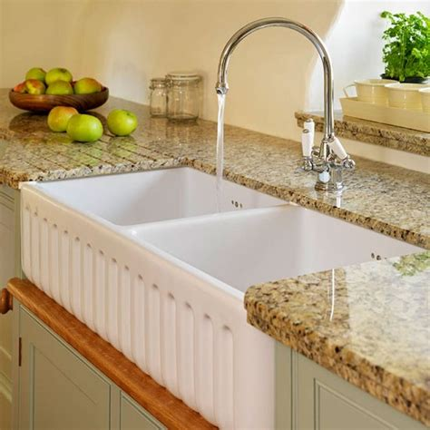 sink area soft green and cream traditional kitchen housetohome co uk