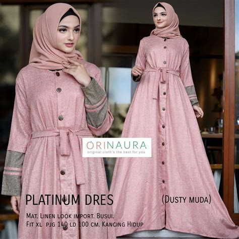 Gamis Platinum Dress Mat Linen Look Import Busui Longdress Maxi Murah gamis muslim terbaru baju muslim terbaru platinum dress by orinaura