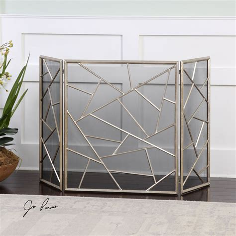armino antique silver fireplace screen uttermost screens