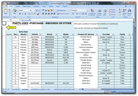 fleet vehicle maintenance excel spreadsheet and vehicle