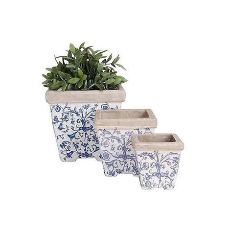 Original Three Aged Ceramic Blue And White Square Planters Jpg Blue And White Planters