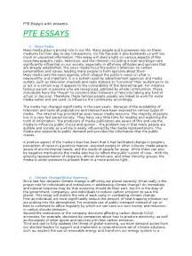 New Media Essay by Pte Essays With Answers