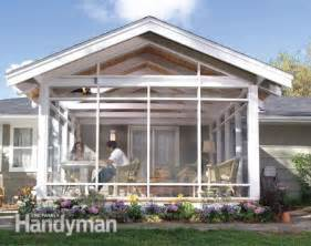 house plans with screened back porch screen porch construction the family handyman