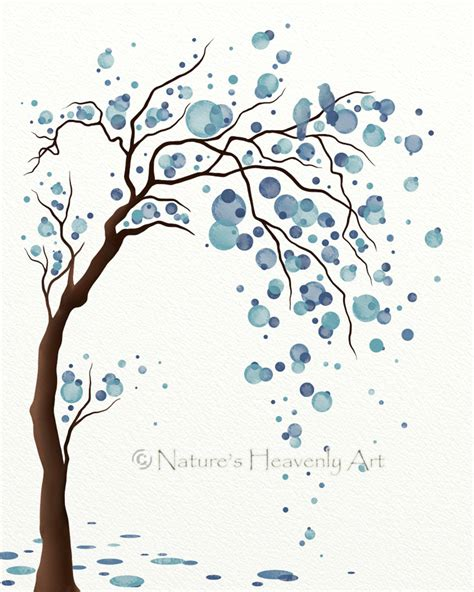 blue flower tree family symbolize happy home decor wall blue decor watercolor tree art print poster by