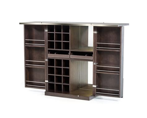 Dining Room Sets In Ct Modrest Fountain Modern Brown Oak Wine Cabinet Wine