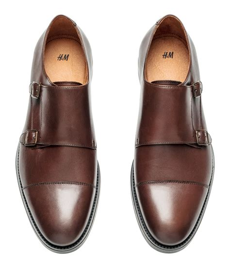 shoes h m h m monkstrap shoes in brown for lyst