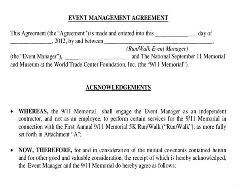Agreement Letter For Event Event Contract Template 18 Free Word Excel Pdf Documents Free Premium Templates