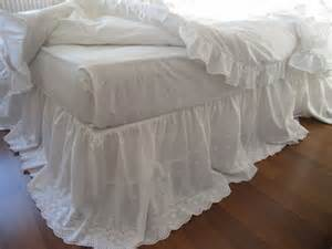 lace bed skirt bedskirt white eyelet lace cotton dust ruffle