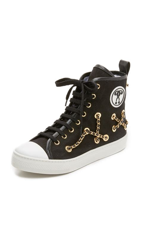 moschino shoes for moschino chain sneakers in black lyst