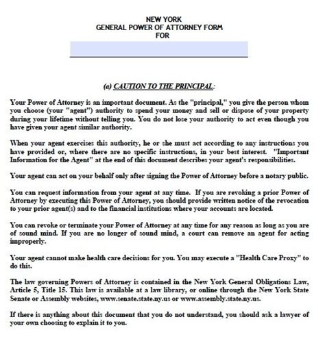 Free General Power Of Attorney New York Form Adobe Pdf Power Of Attorney Template Ny