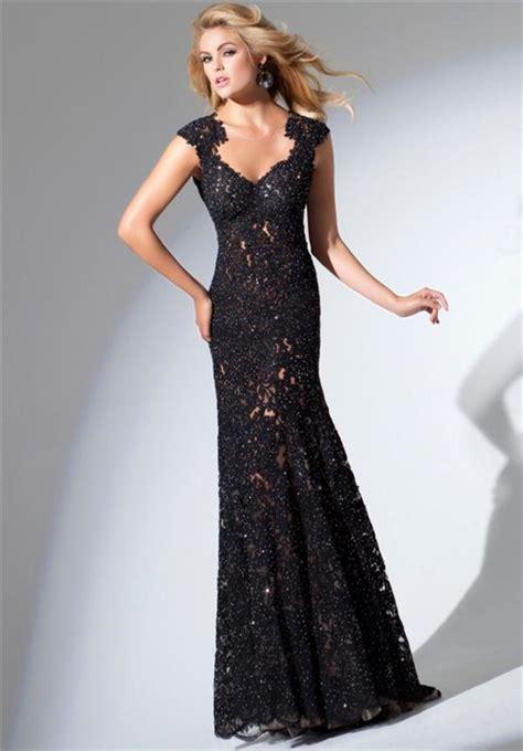 beaded open back prom dress trumpet mermaid sweetheart cap sleeve open back black