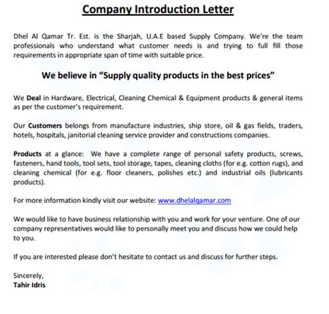 business introduction letter by email 4 company introduction email sles formats exles