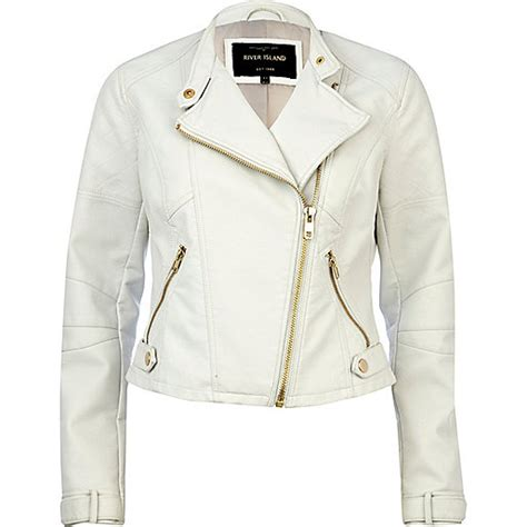 River Island Leather Cropped Jacket by White Leather Look Cropped Biker Jacket Coats Jackets