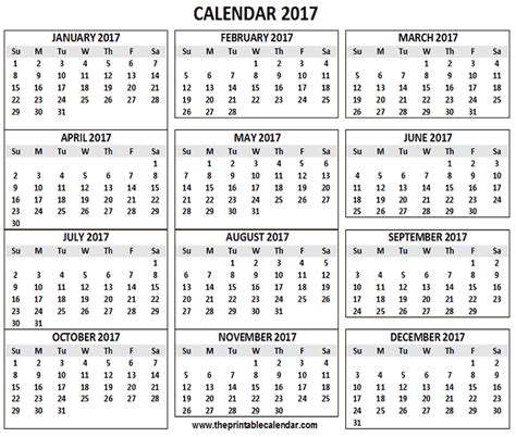 printable calendar for 2017 2017 calendar printable 12 months calendar on one page