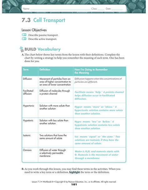 7 1 Is Cellular Worksheet Answers by Worksheets Cellular Transport Worksheet Answer Key