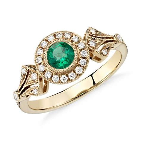 emerald and halo vintage inspired milgrain ring in