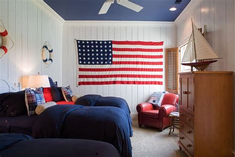 American Bedroom Design All American White And Blue Decor