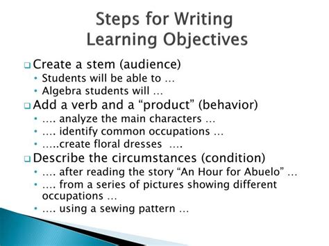 learning objectives for essay writi
