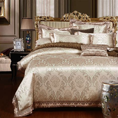 King Size Bedding Set 6 Aliexpress Buy Brown Coffee Silk Cotton Jacquard Luxury Bedding Set 4 6pcs King Size