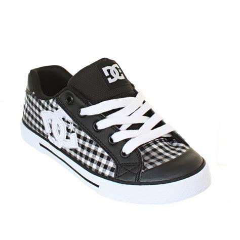womens dc shoes chelsea black white armor plaid check