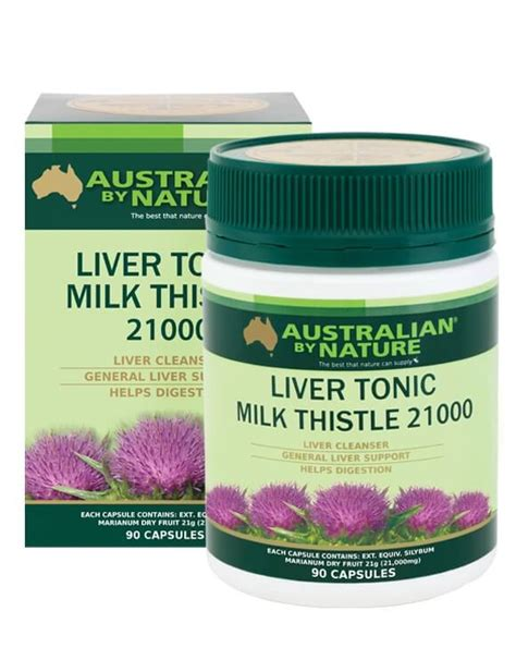 Liver Detox Chlorophyll Tonics by Australian By Nature Liver Tonic Milk Thistle 21000mg 90