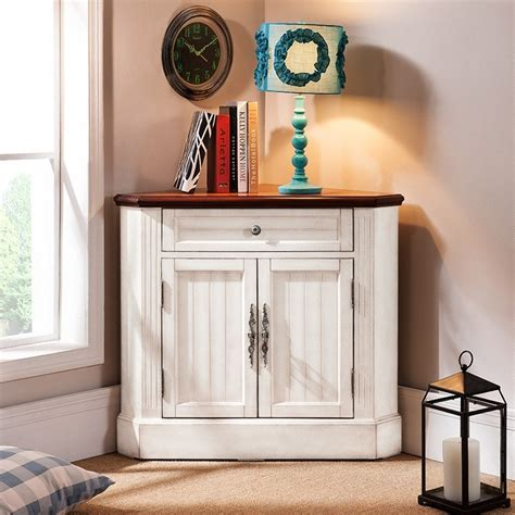 farmhouse corner accent cabinet distressed triangle cabinet  doors white blue cabinets