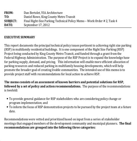 policy summary template 15 policy memo templates free sle exle format