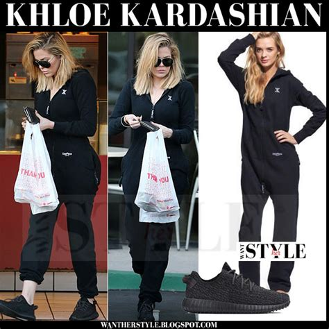 Khloe Black khloe in black onesie and black sneakers in la