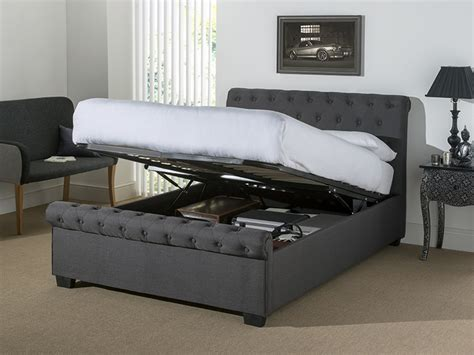 ottoman beds uk double eleanor dark grey fabric ottoman bed at mattressman